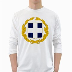 Greece National Emblem  White Long Sleeve T Shirts by abbeyz71