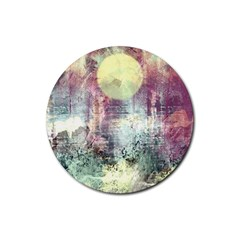 Frosty Pale Moon Rubber Round Coaster (4 Pack)  by digitaldivadesigns
