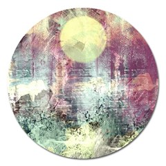 Frosty Pale Moon Magnet 5  (round) by digitaldivadesigns