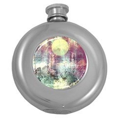 Frosty Pale Moon Round Hip Flask (5 Oz) by digitaldivadesigns