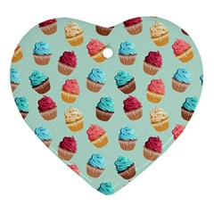 Cup Cakes Party Heart Ornament (two Sides) by tarastyle