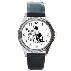 Dog Person Round Metal Watch by Valentinaart