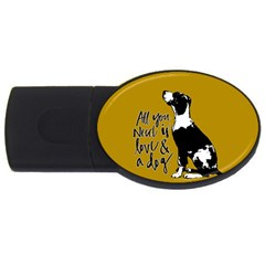 Dog Person Usb Flash Drive Oval (4 Gb) by Valentinaart