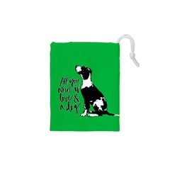 Dog Person Drawstring Pouches (xs)  by Valentinaart
