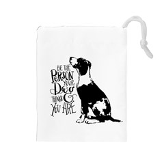 Dog Person Drawstring Pouches (large)  by Valentinaart