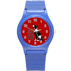 Dog Person Round Plastic Sport Watch (s) by Valentinaart