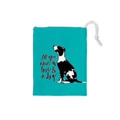 Dog Person Drawstring Pouches (small)  by Valentinaart