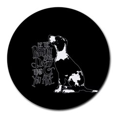 Dog Person Round Mousepads by Valentinaart