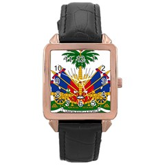 Coat Of Arms Of Haiti Rose Gold Leather Watch  by abbeyz71