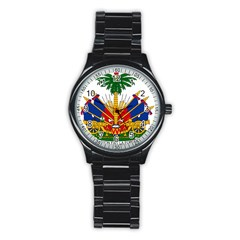 Coat Of Arms Of Haiti Stainless Steel Round Watch