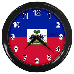 Flag Of Haiti  Wall Clocks (black)