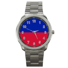 Civil Flag Of Haiti (without Coat Of Arms) Sport Metal Watch by abbeyz71