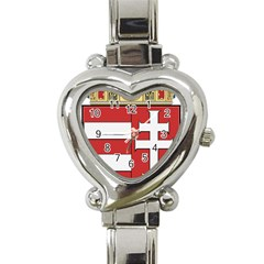 Medieval Coat Of Arms Of Hungary  Heart Italian Charm Watch by abbeyz71