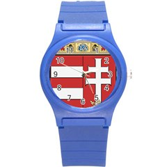 Medieval Coat Of Arms Of Hungary  Round Plastic Sport Watch (s) by abbeyz71