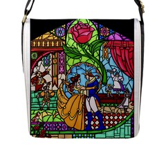 Happily Ever After 1   Beauty And The Beast  Flap Closure Messenger Bag (l) by storybeth