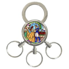 Happily Ever After 1   Beauty And The Beast  3 Ring Key Chain by storybeth