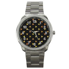 Shapes Abstract Triangles Pattern Sport Metal Watch by Nexatart