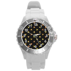 Shapes Abstract Triangles Pattern Round Plastic Sport Watch (l)