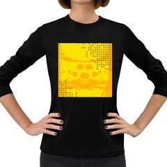 Texture Yellow Abstract Background Women s Long Sleeve Dark T Shirts