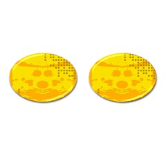 Texture Yellow Abstract Background Cufflinks (oval) by Nexatart