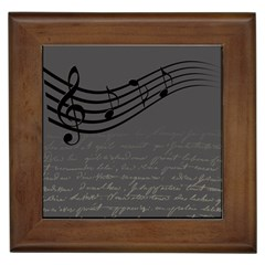 Music Clef Background Texture Framed Tiles by Nexatart