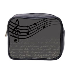 Music Clef Background Texture Mini Toiletries Bag 2 Side by Nexatart
