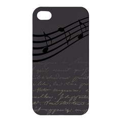 Music Clef Background Texture Apple Iphone 4/4s Premium Hardshell Case by Nexatart