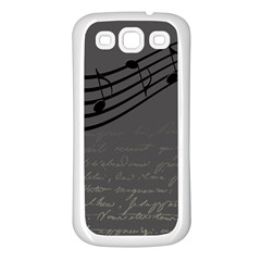 Music Clef Background Texture Samsung Galaxy S3 Back Case (white) by Nexatart
