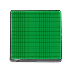 Pattern Green Background Lines Memory Card Reader (square)