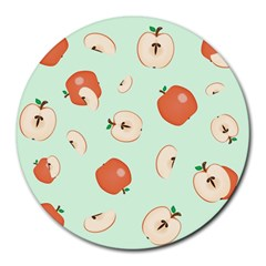 Apple Fruit Background Food Round Mousepads by Nexatart