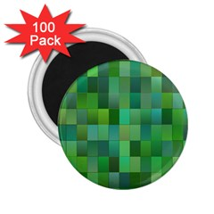 Green Blocks Pattern Backdrop 2 25  Magnets (100 Pack)  by Nexatart