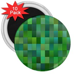 Green Blocks Pattern Backdrop 3  Magnets (10 Pack)  by Nexatart