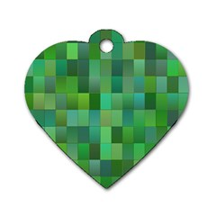 Green Blocks Pattern Backdrop Dog Tag Heart (one Side) by Nexatart