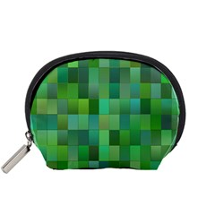 Green Blocks Pattern Backdrop Accessory Pouches (small)  by Nexatart