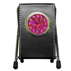 Shapes Abstract Pink Pen Holder Desk Clocks by Nexatart