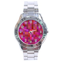 Shapes Abstract Pink Stainless Steel Analogue Watch by Nexatart