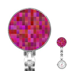 Shapes Abstract Pink Stainless Steel Nurses Watch by Nexatart