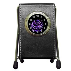 Rose Flower Design Nature Blossom Pen Holder Desk Clocks by Nexatart