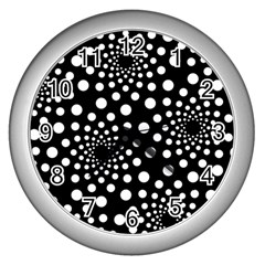 Dot Dots Round Black And White Wall Clocks (silver)  by Nexatart