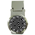 Dot Dots Round Black And White Money Clip Watches Front