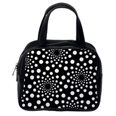 Dot Dots Round Black And White Classic Handbags (one Side) by Nexatart