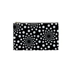 Dot Dots Round Black And White Cosmetic Bag (small)  by Nexatart