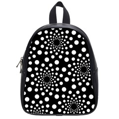 Dot Dots Round Black And White School Bags (small)  by Nexatart