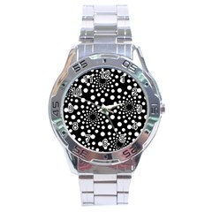 Dot Dots Round Black And White Stainless Steel Analogue Watch by Nexatart