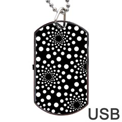 Dot Dots Round Black And White Dog Tag Usb Flash (two Sides) by Nexatart