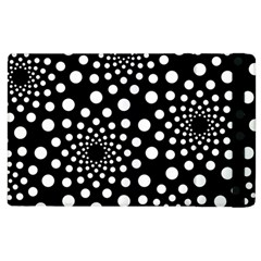 Dot Dots Round Black And White Apple Ipad 2 Flip Case by Nexatart