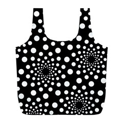 Dot Dots Round Black And White Full Print Recycle Bags (l)  by Nexatart