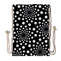 Dot Dots Round Black And White Drawstring Bag (large) by Nexatart