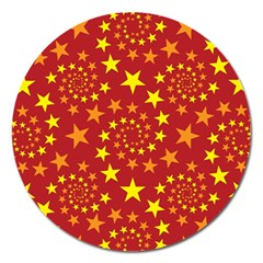 Star Stars Pattern Design Magnet 5  (round) by Nexatart