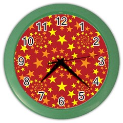 Star Stars Pattern Design Color Wall Clocks by Nexatart